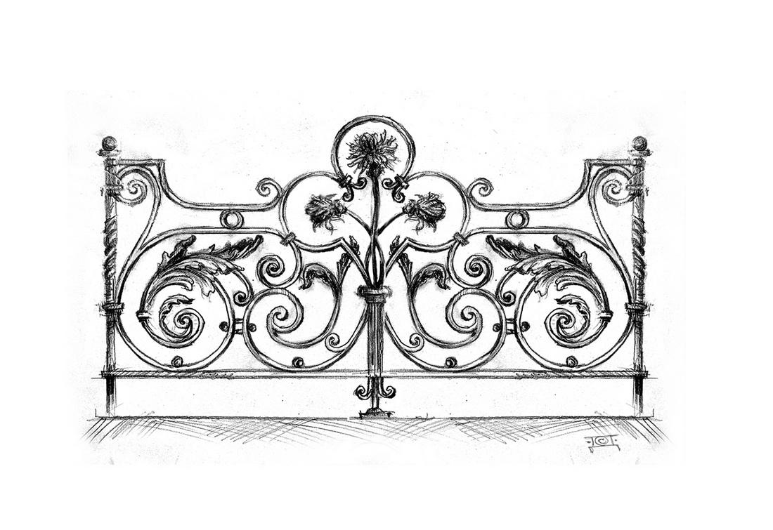 Эскиз кованой ограды - 1
