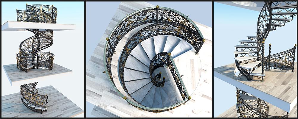 Эскиз винтовой лестницы